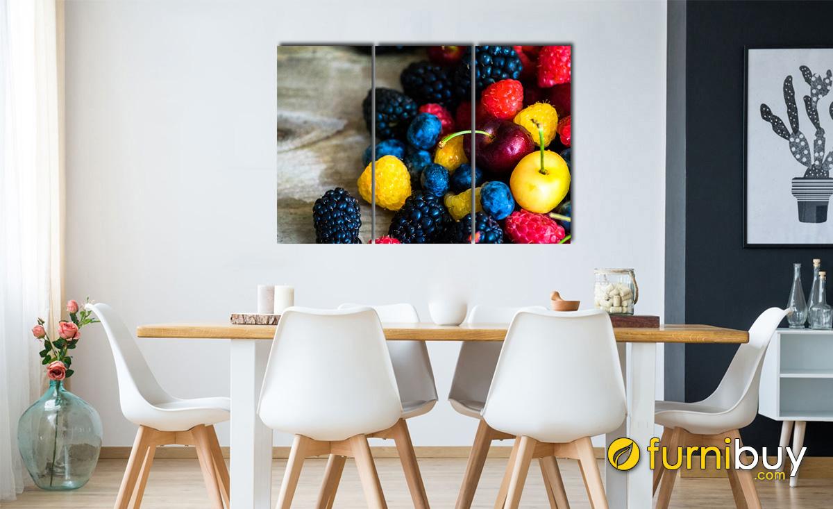 Hình ảnh Tranh hoa quả treo phòng ăn đẹp hiện đại ghép bộ 3 tấm