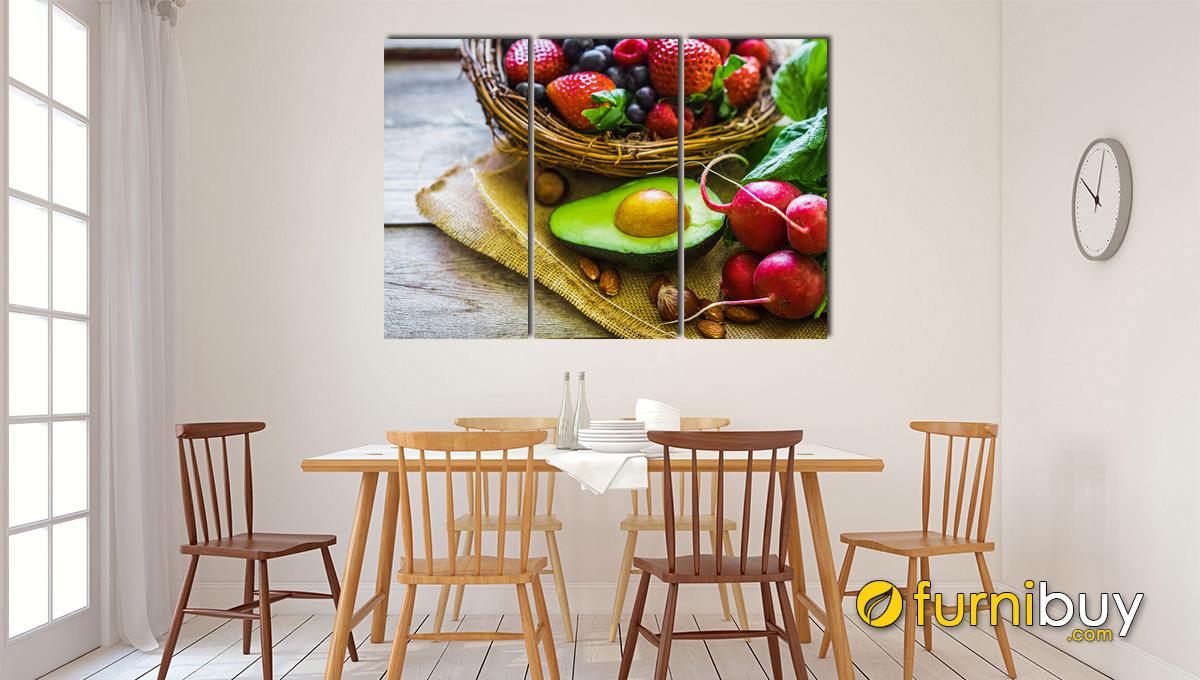 Hình ảnh Tranh hoa quả treo phòng ăn ghép bộ nhiều tấm