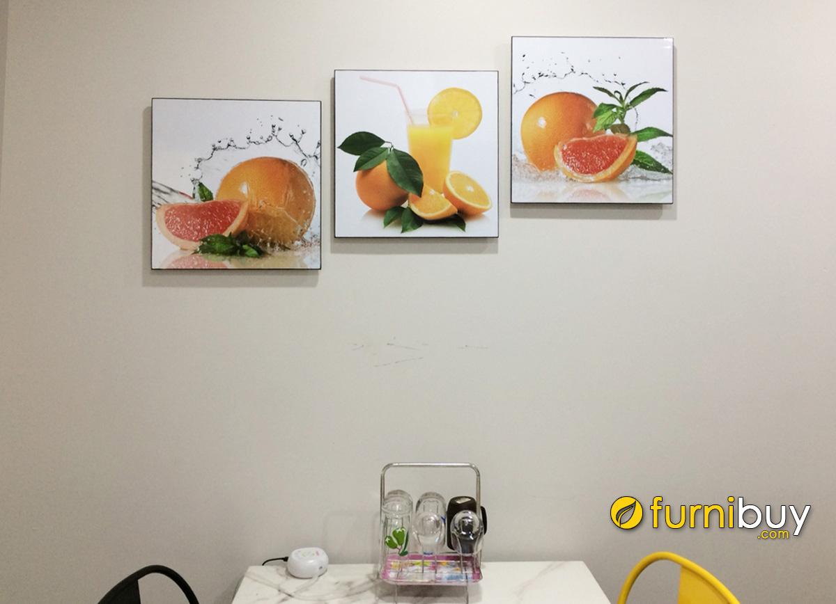 Hình ảnh Tranh hoa quả treo tường bàn ăn đẹp ghép bộ 3 tấm