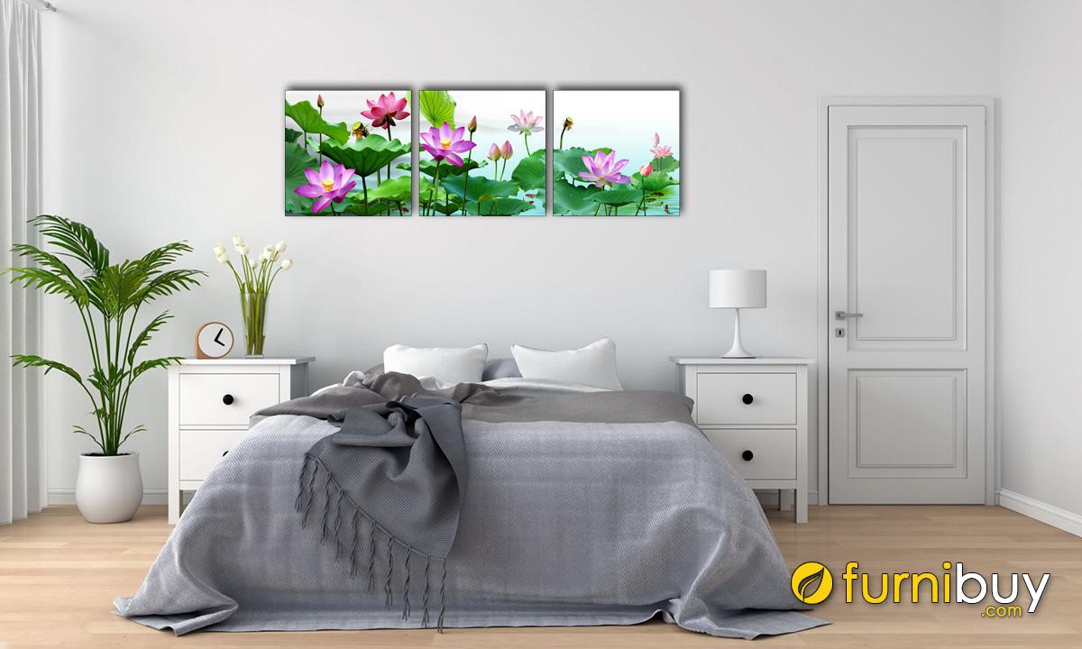 Hình ảnh Tranh hoa sen ghép bộ 5 tấm treo phòng ngủ mệnh Mộc mã 1552
