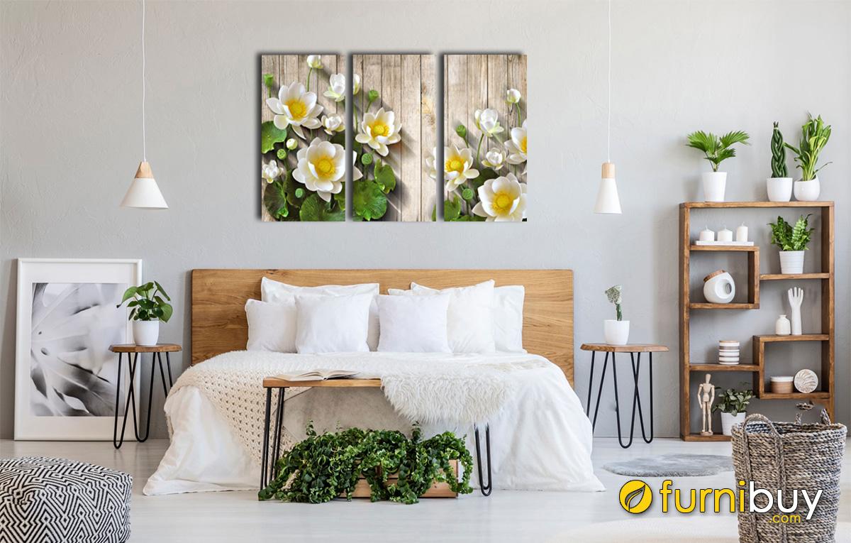 Hình ảnh Tranh hoa sen hợp mệnh Mộc trang trí phòng ngủ đẹp mã 1330