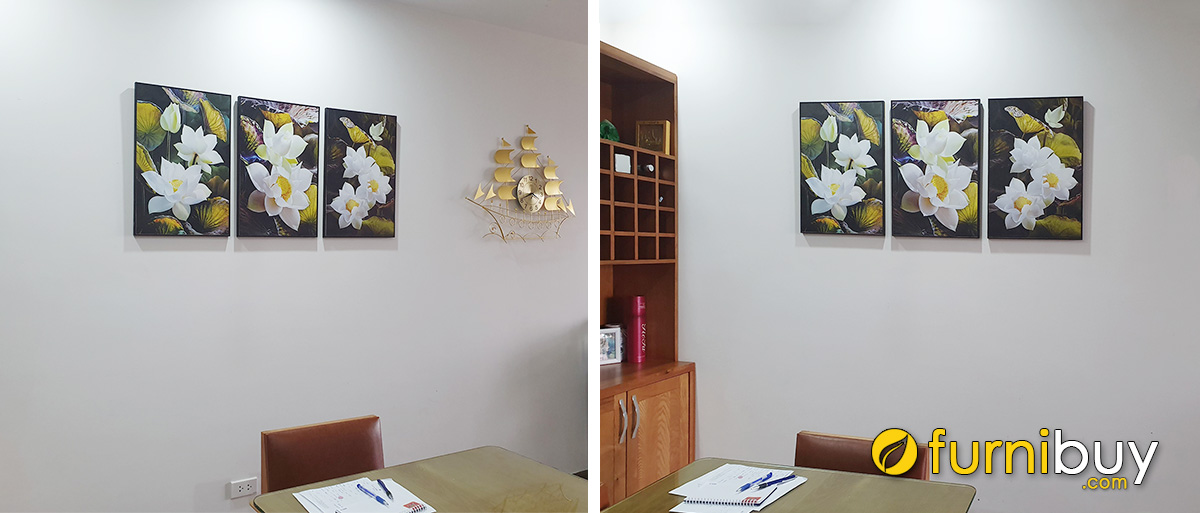 Hình ảnh Tranh hoa sen treo tường khu vực bàn ăn đẹp