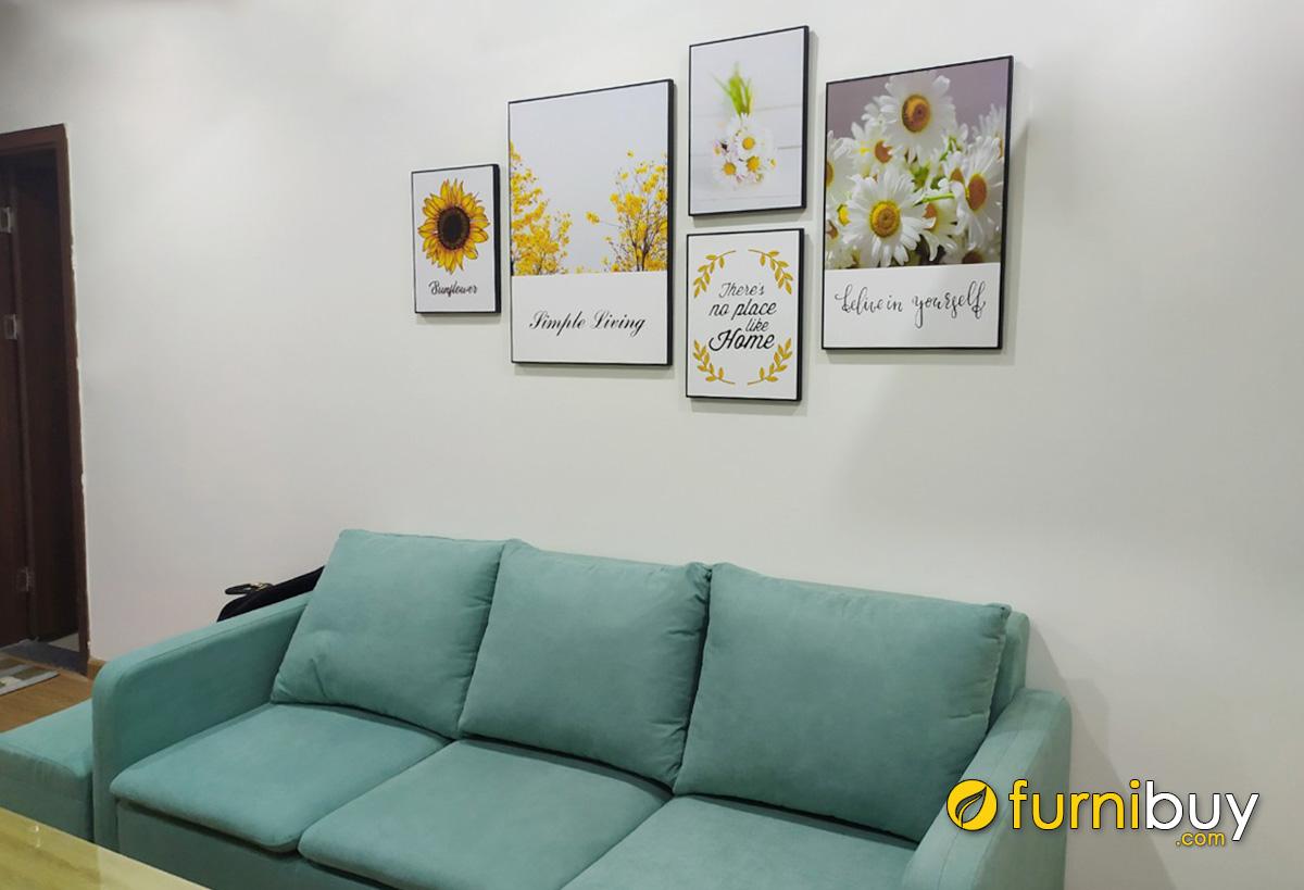 Hình ảnh Tranh in canvas hoa cúc treo tường phòng khách cho thuê