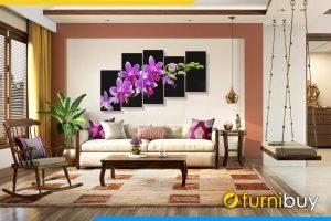 Tranh khổ lớn treo phòng khách rộng hoa lan tím amia 1087