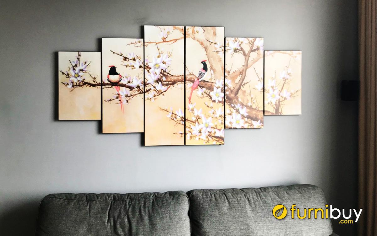 Hình ảnh Tranh khổ lớn treo tường phòng khách cành hoa và đôi chim