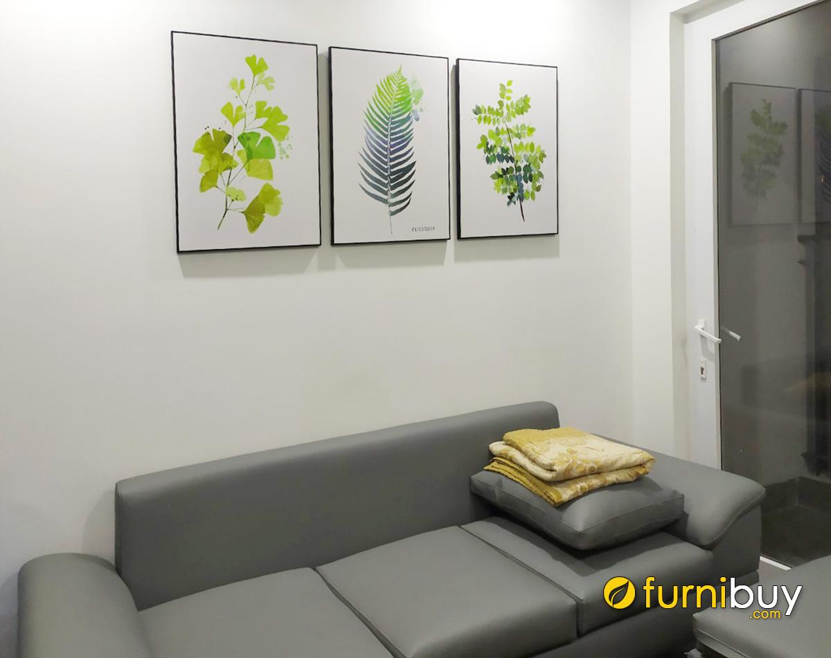 Hình ảnh Tranh lá cây in canvas treo phòng khách nhà cho thuê