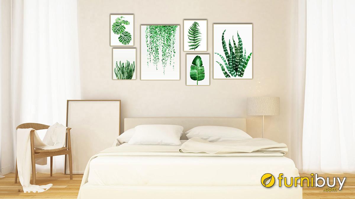 Hình ảnh Tranh lá cây trang trí tường phòng ngủ chủ nhân mệnh Mộc mã 1430