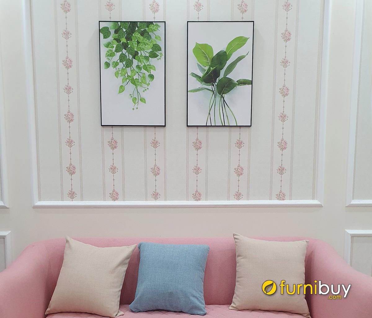 Hình ảnh Tranh lá cây treo tường phòng khách nhà cho thuê ghép bộ 2 tấm