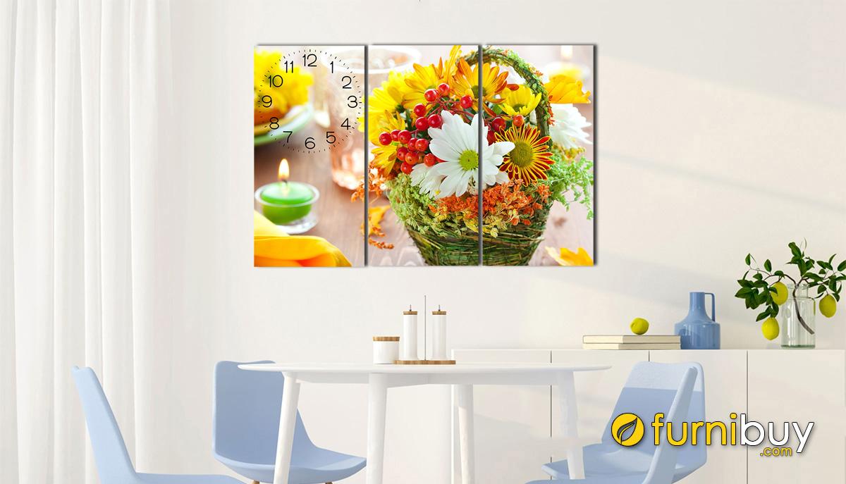 Hình ảnh Tranh lẵng hoa treo tường phòng ăn đẹp hiện đại mã 626