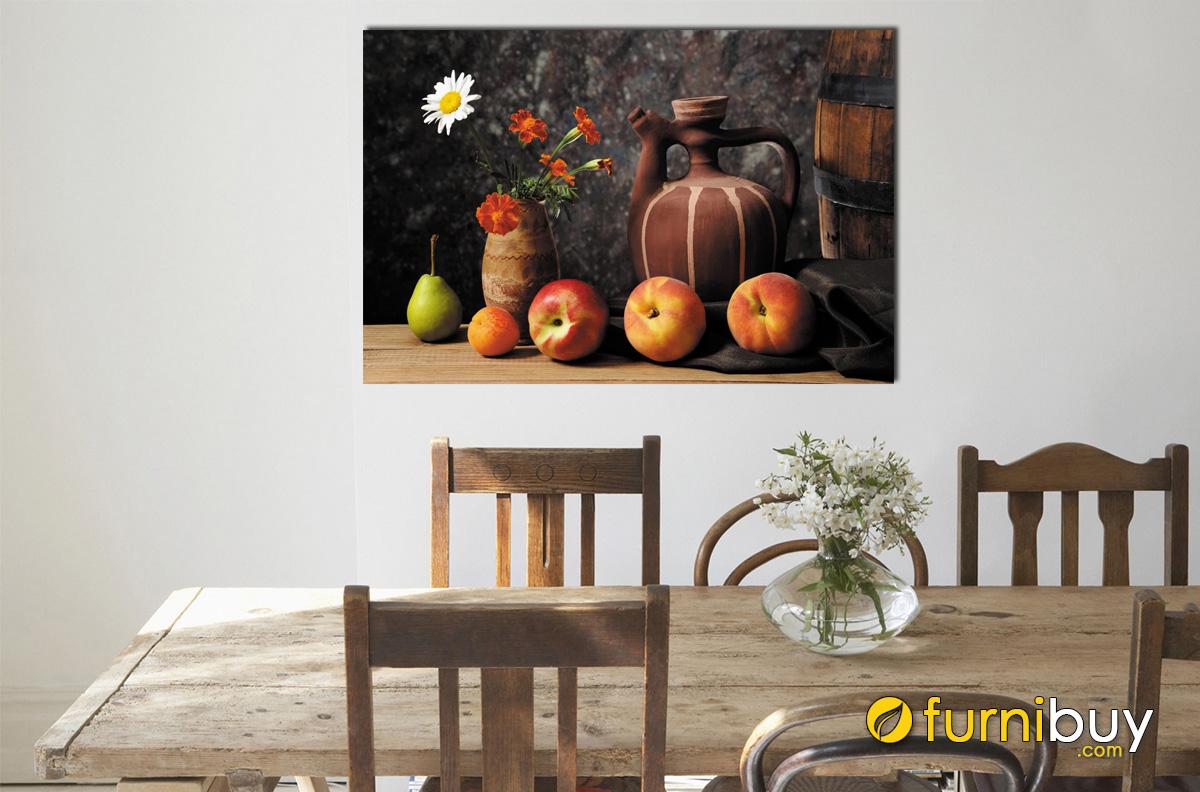 Hình ảnh Tranh lọ hoa và quả bên bình trà treo phòng ăn đẹp mã 628