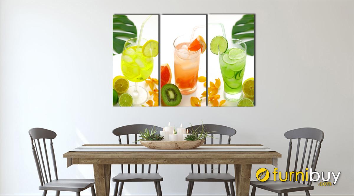 Hình ảnh Tranh ly nước hoa quả treo tường phòng ăn mã 307