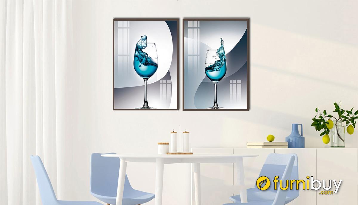 Hình ảnh Tranh ly rượu treo tường phòng ăn đẹp hiện đại