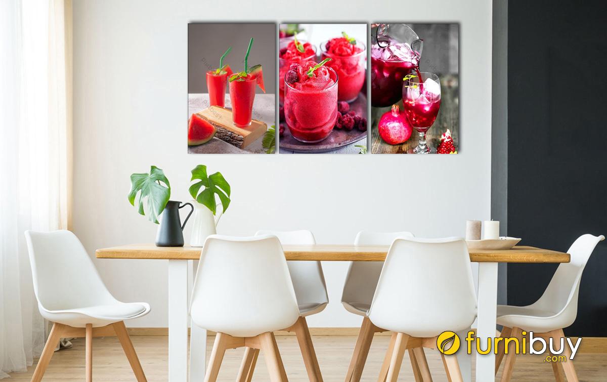 Hình ảnh Tranh ly sinh tố treo phòng ăn đẹp hiện đại kích thích vị giác