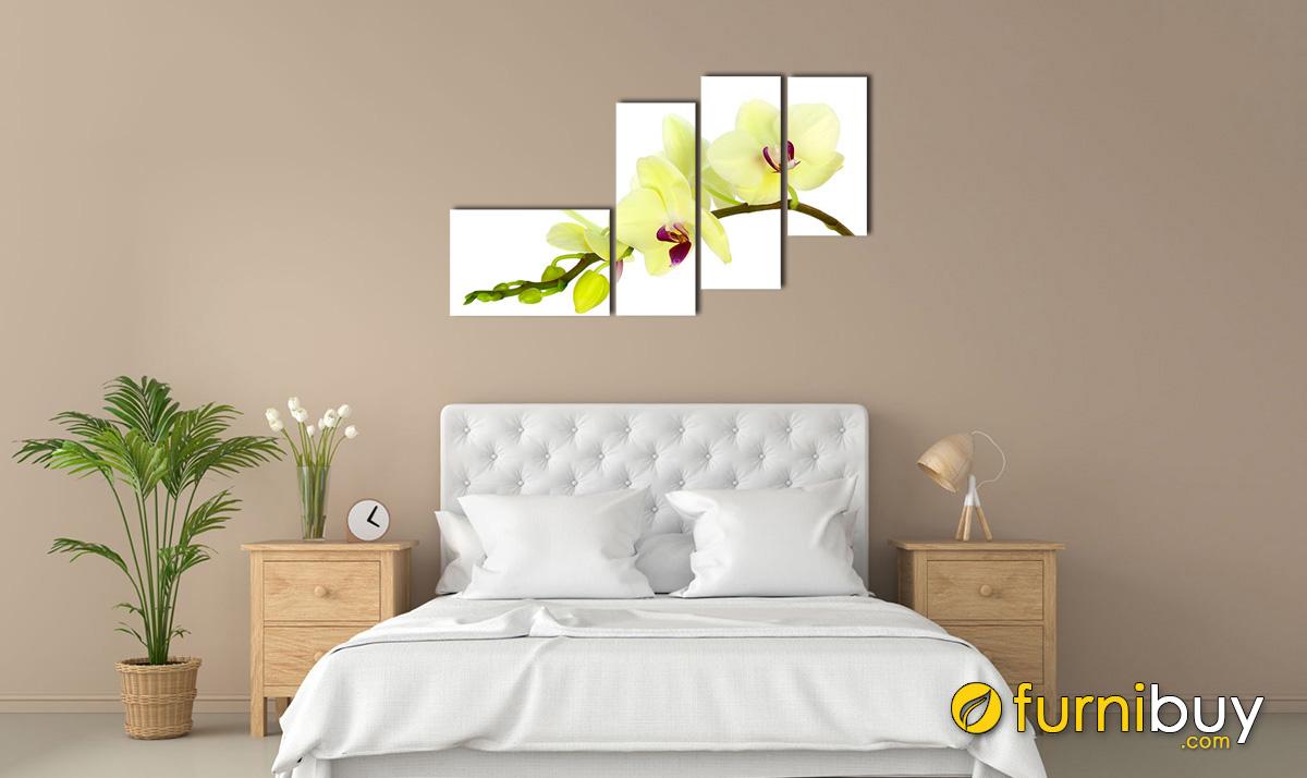 Hình ảnh Tranh nhành hoa lan sắc xanh cho phòng ngủ mệnh Mộc mã 196