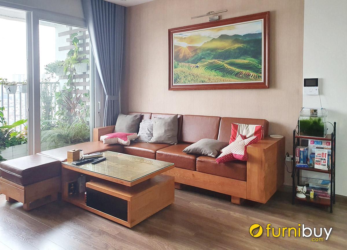 Hình ảnh Tranh phong cảnh đẹp hợp sofa gỗ chữ L nhà chung cư