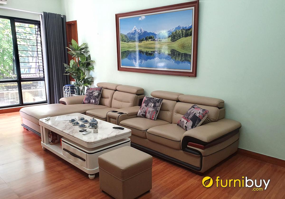 Hình ảnh Tranh phong cảnh đẹp treo trên bộ ghế sofa góc đẹp cho phòng khách