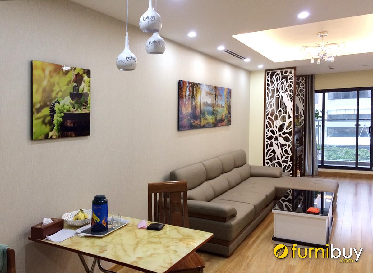 Hình ảnh Tranh phòng khách liền phòng ăn đẹp hiện đại cho nhà chung cư
