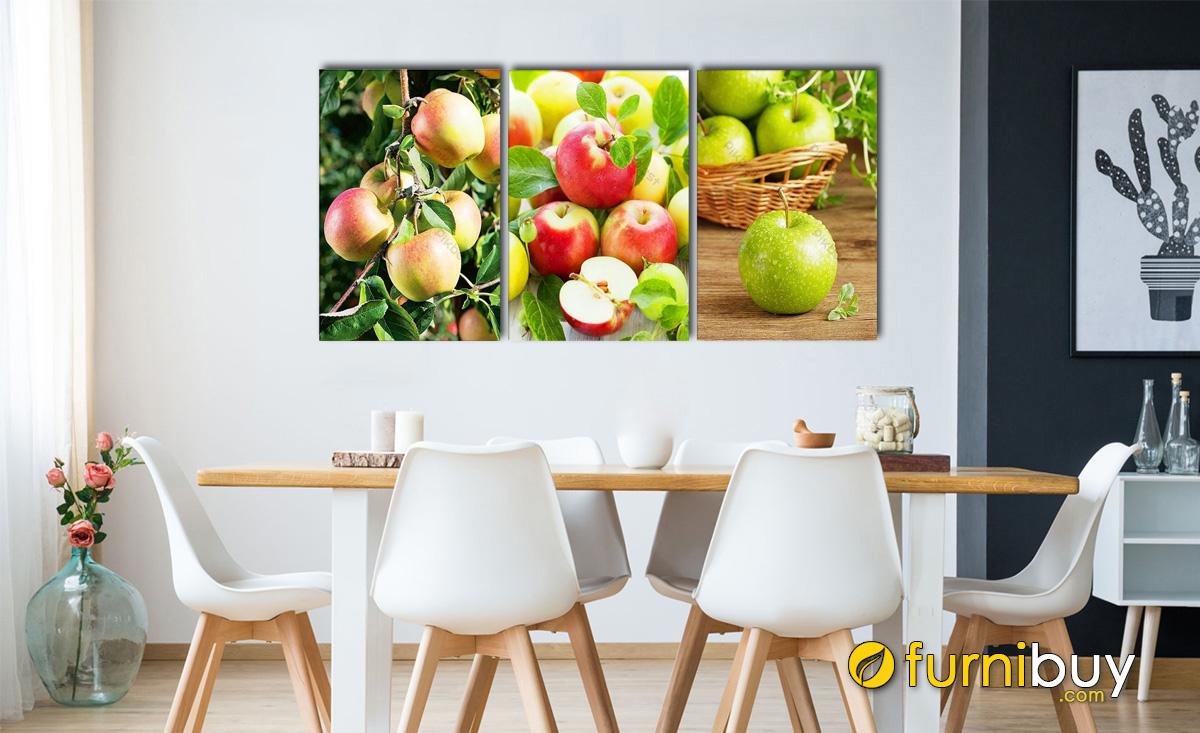 Hình ảnh Tranh quả táo treo phòng ăn đẹp ghép bộ 3 tấm