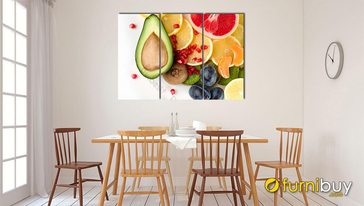 Hình ảnh Tranh quả treo phòng ăn nhà bếp đẹp hiện đại