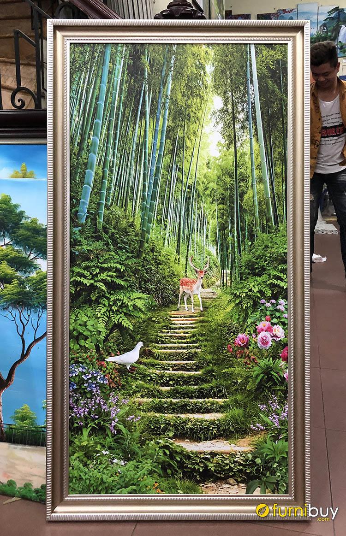 Hình ảnh Tranh rừng cây khổ dọc treo phòng khách đẹp ý nghĩa
