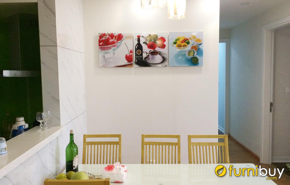 Hình ảnh Tranh rượu và hoa quả treo tường phòng ăn đẹp thiết kế ghép bộ 3 tấm