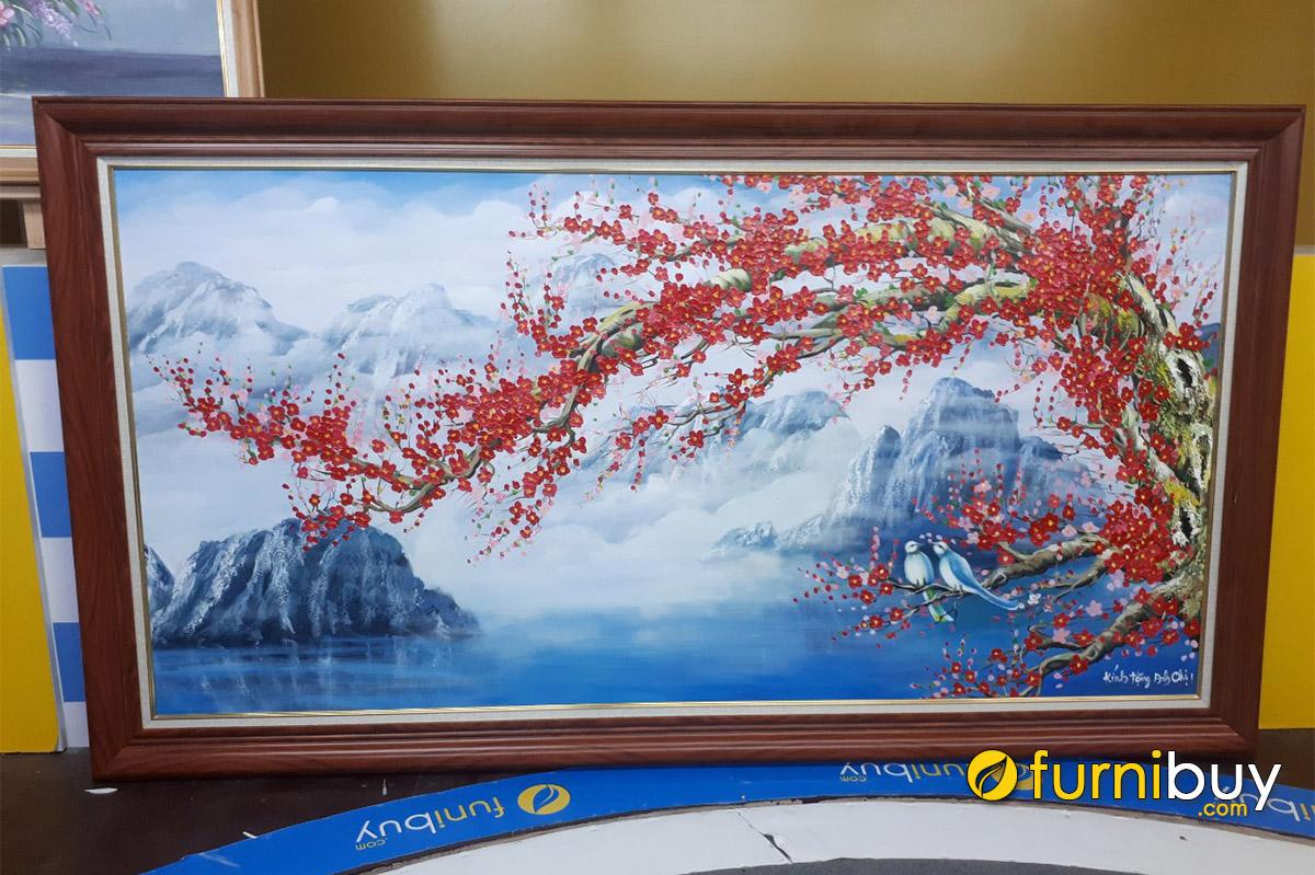Hình ảnh Tranh sơn dầu khổ lớn treo tường phòng khách sang trọng