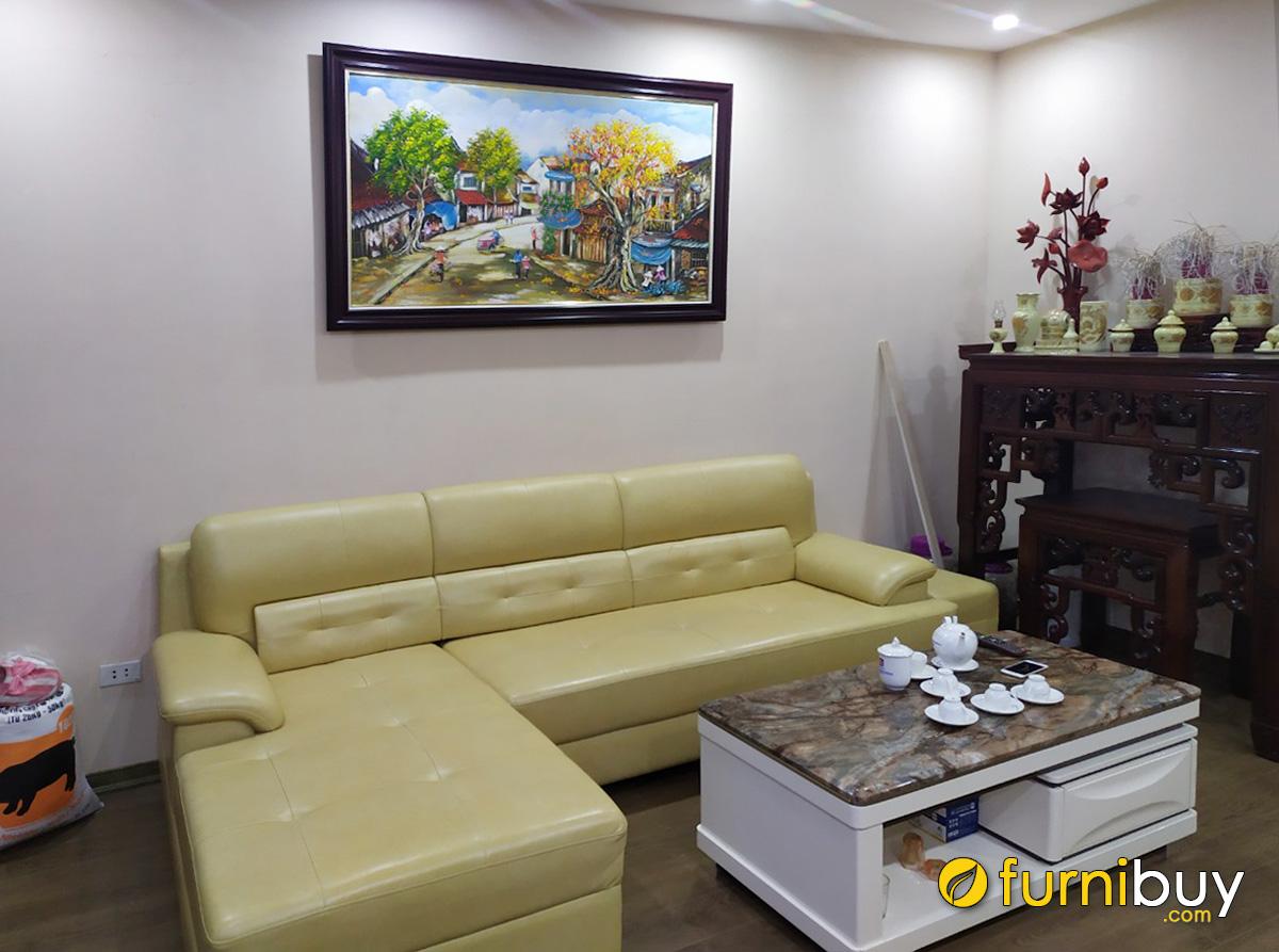 Hình ảnh Tranh sơn dầu phố cổ Hà Nội treo tường phía trên ghế sofa phòng khách