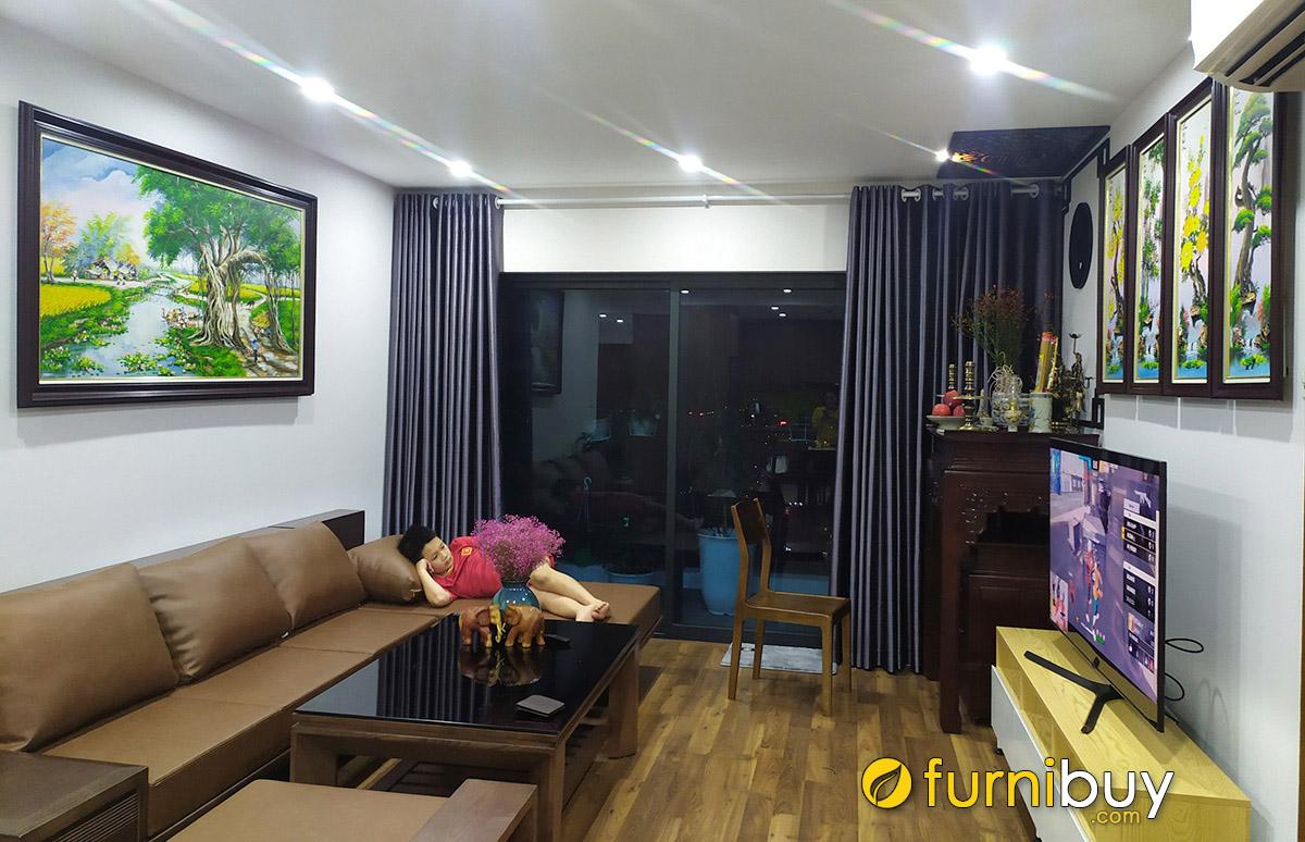 Hình ảnh Tranh sơn dầu treo phòng khách chung cư đẹp mà sang