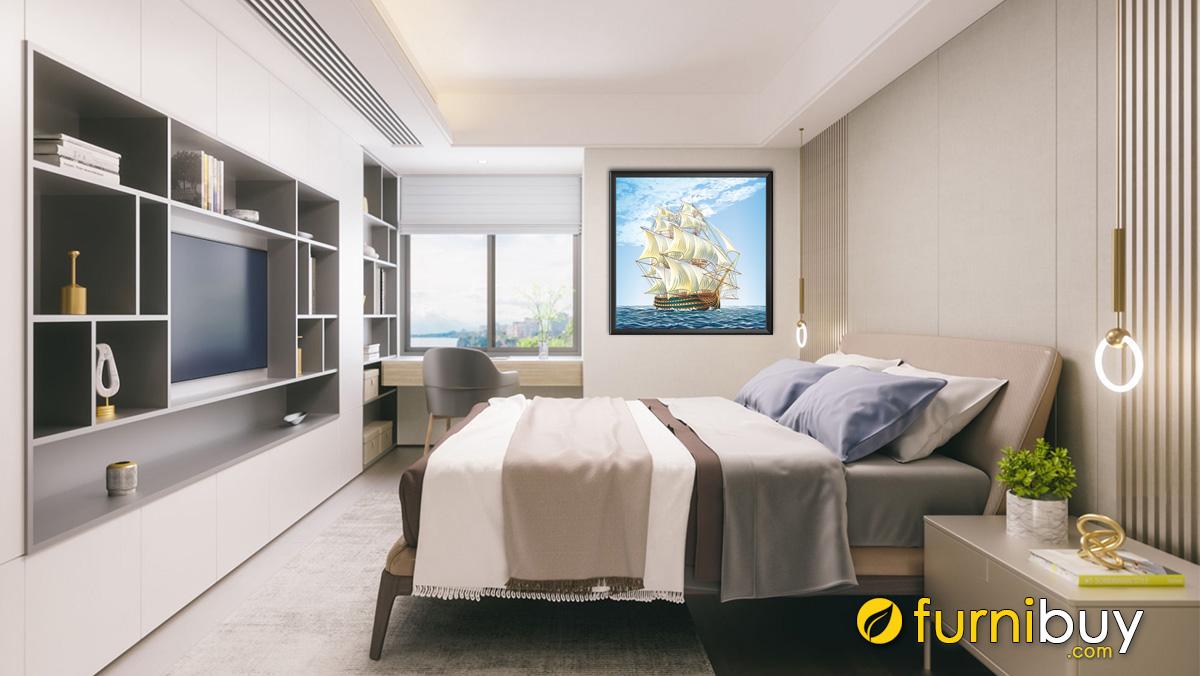 Hình ảnh Tranh thuận buồm xuôi gió treo tường phòng ngủ mệnh Mộc