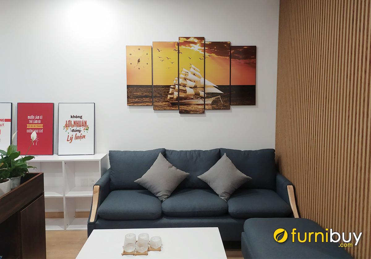 Hình ảnh Tranh thuyền biển ghép bộ 5 tấm treo trên ghế sofa đẹp