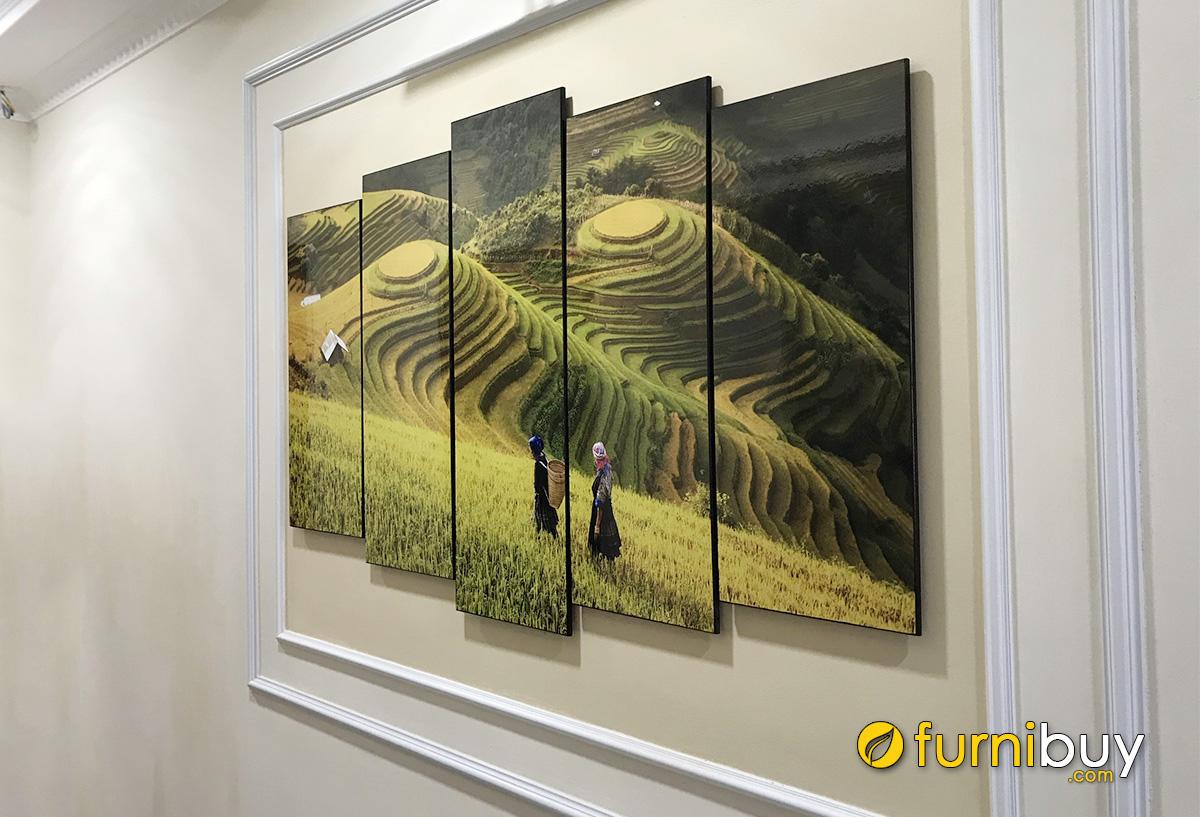 Hình ảnh Tranh trang trí ô tường phòng khách đẹp ghép bộ 5 tấm