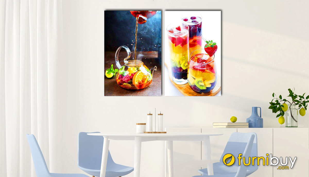 Hình ảnh Tranh trang trí phòng ăn đẹp hiện đại hình ảnh đồ uống hấp dẫn