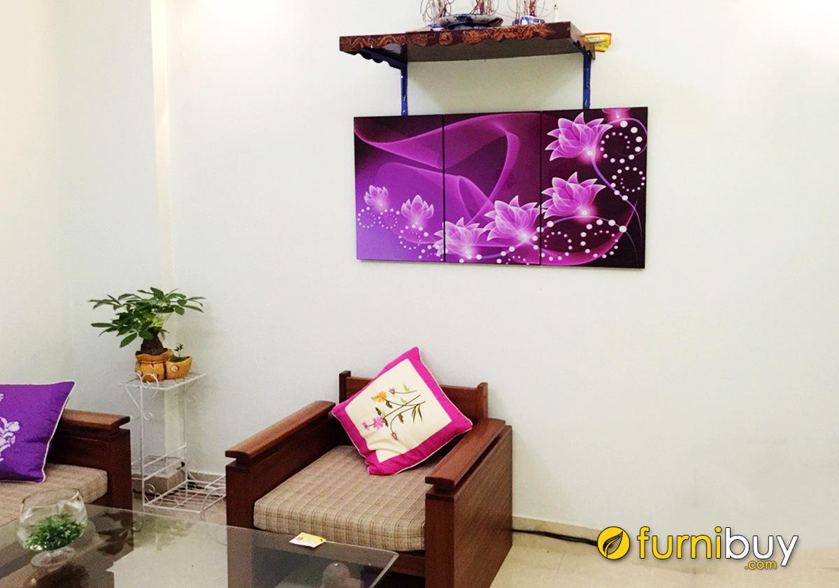 Hình ảnh Tranh treo ban thờ tổ tiên phòng khách hình ảnh hoa sen