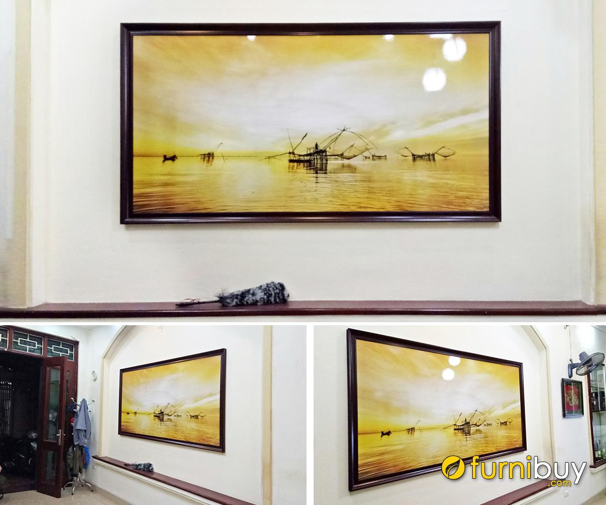 Hình ảnh Tranh treo hộc âm tường phòng khách thiết kế 1 tấm