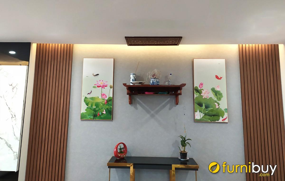 Hình ảnh Tranh treo phòng thờ đẹp chủ đề hoa sen treo cân đối 2 bên