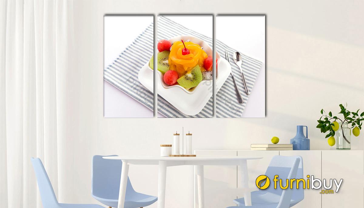 Hình ảnh Tranh treo tường bàn ăn ghép bộ 3 tấm đẹp hiện đại