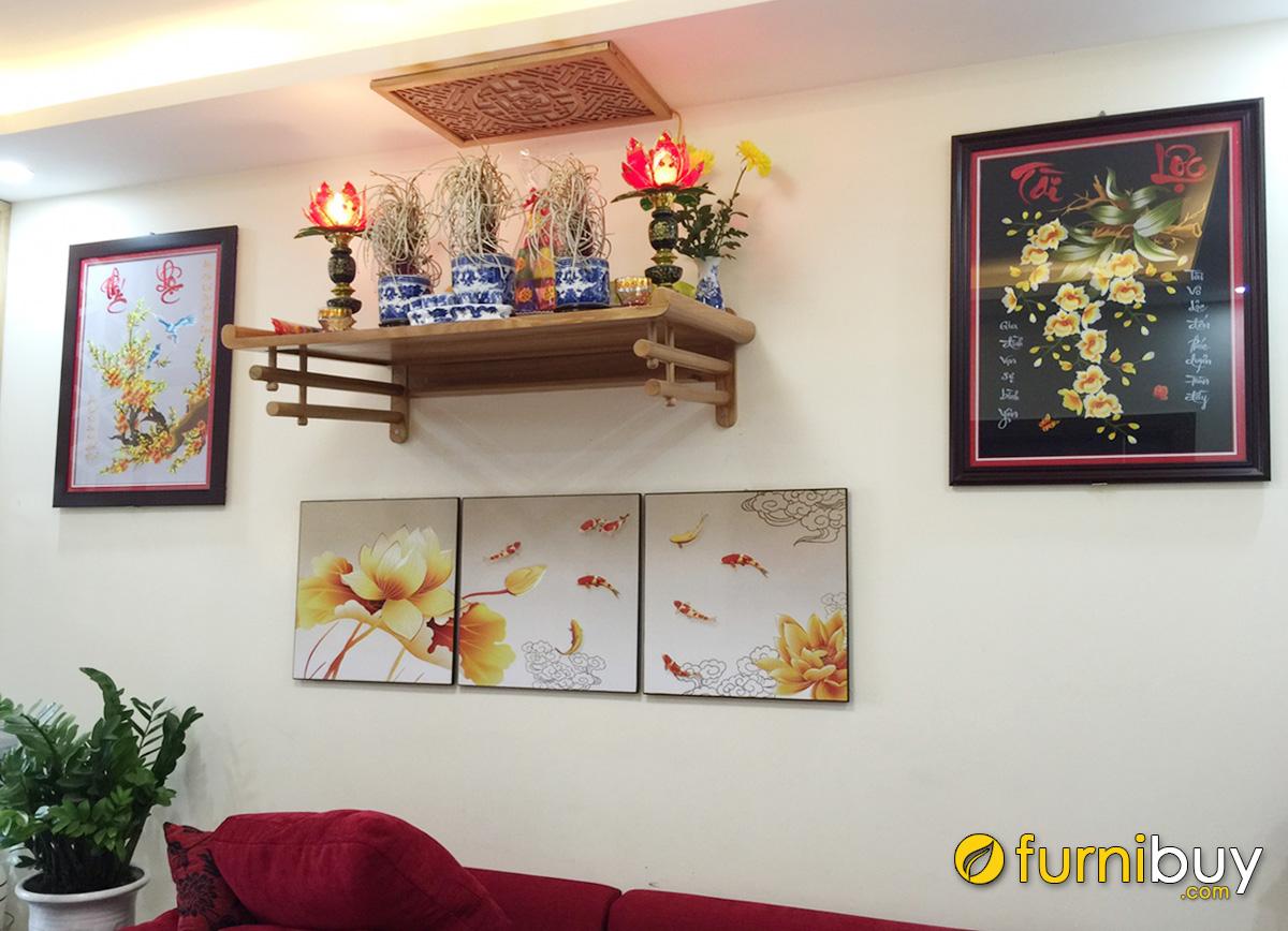 Hình ảnh Tranh treo tường ban thờ gia tiên phòng khách tranh thêu hoa