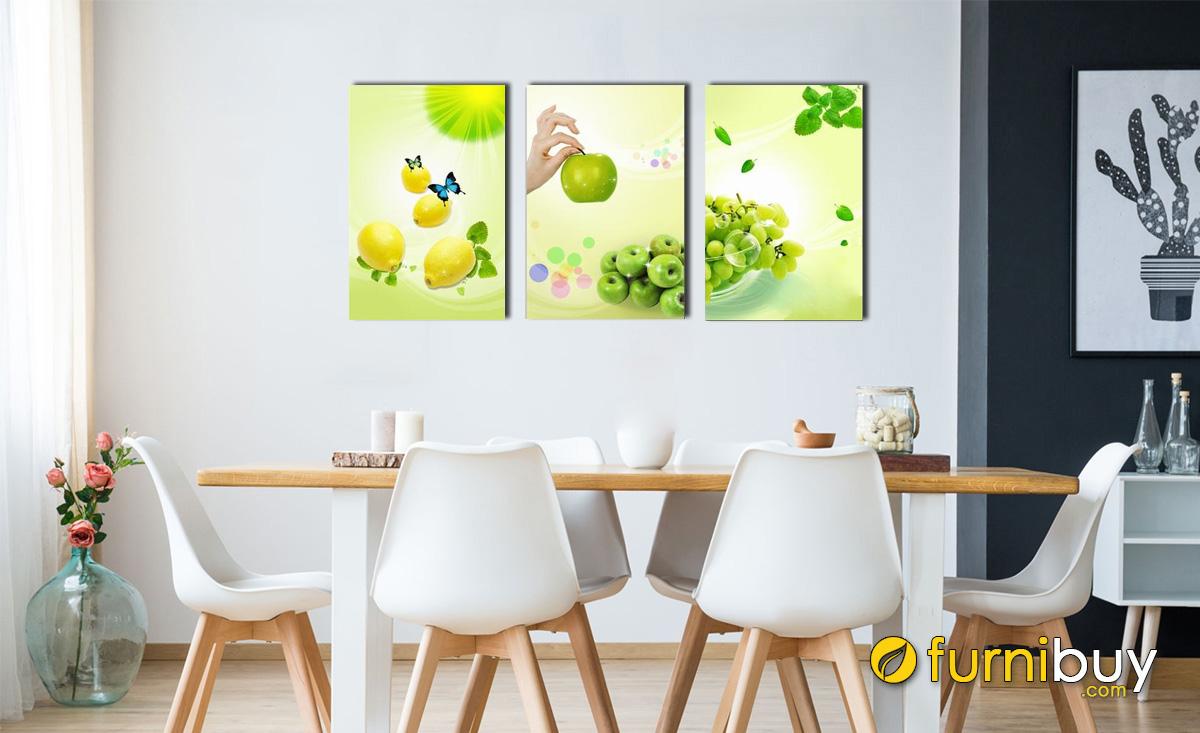 Hình ảnh Tranh treo tường phòng ăn gam màu xanh mát mắt mã 478