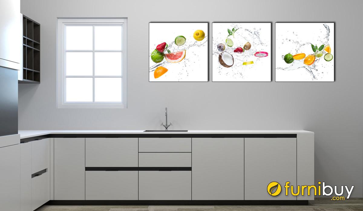 Hình ảnh Tranh treo tường phòng bếp đẹp hiện đại mã 1474 ghép bộ 3 tấm