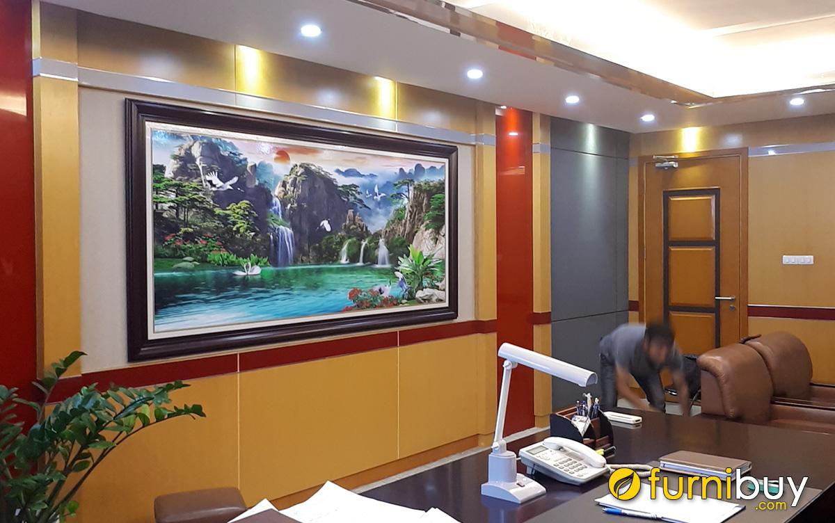 Hình ảnh Tranh treo tường phòng khách khổ lớn chủ đề sơn thủy hữu tình