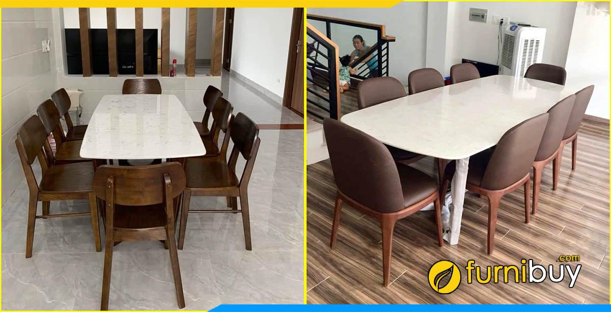 Xưởng gỗ đóng bàn ăn 8 ghế theo yêu cầu