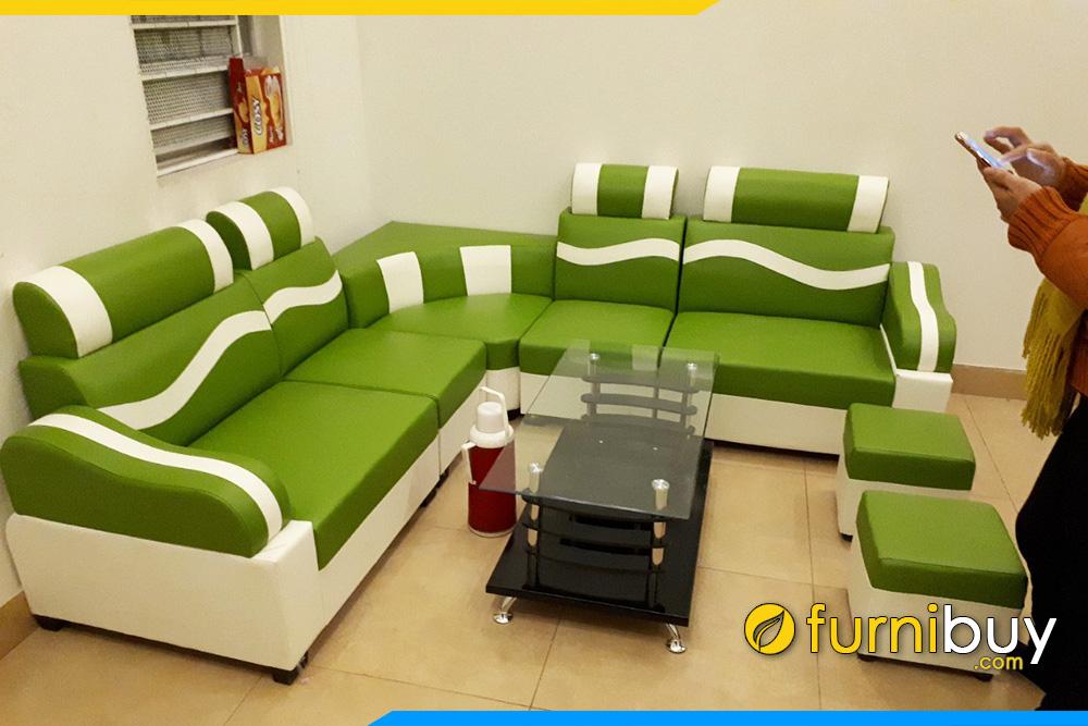 Sofa gia re mau xanh luon song bo goc lon FB029