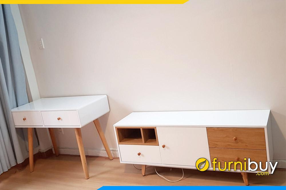 Ảnh tủ tivi gỗ kết hợp tủ trang trí đẹp FBK014