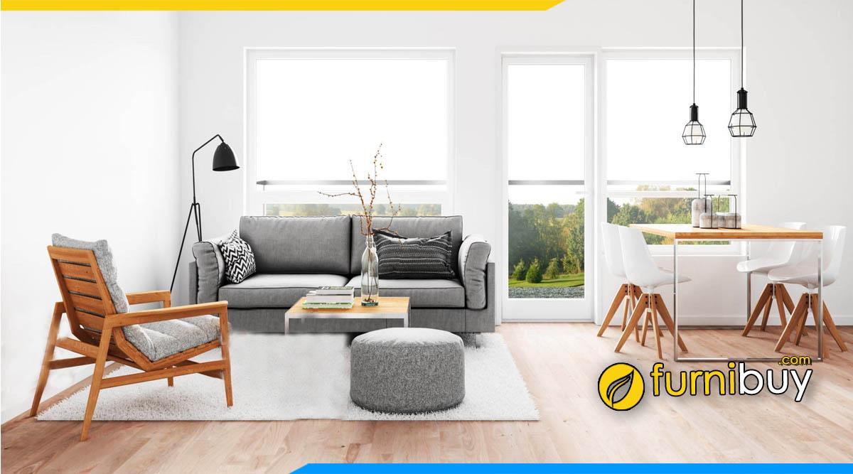 Bộ bàn ghế ăn kết hợp ghế sofa nỉ phòng khách