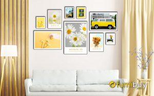 Hình ảnh Bộ tranh hoa cúc họa mi đẹp hợp tone màu vàng hiện đại mã 1779
