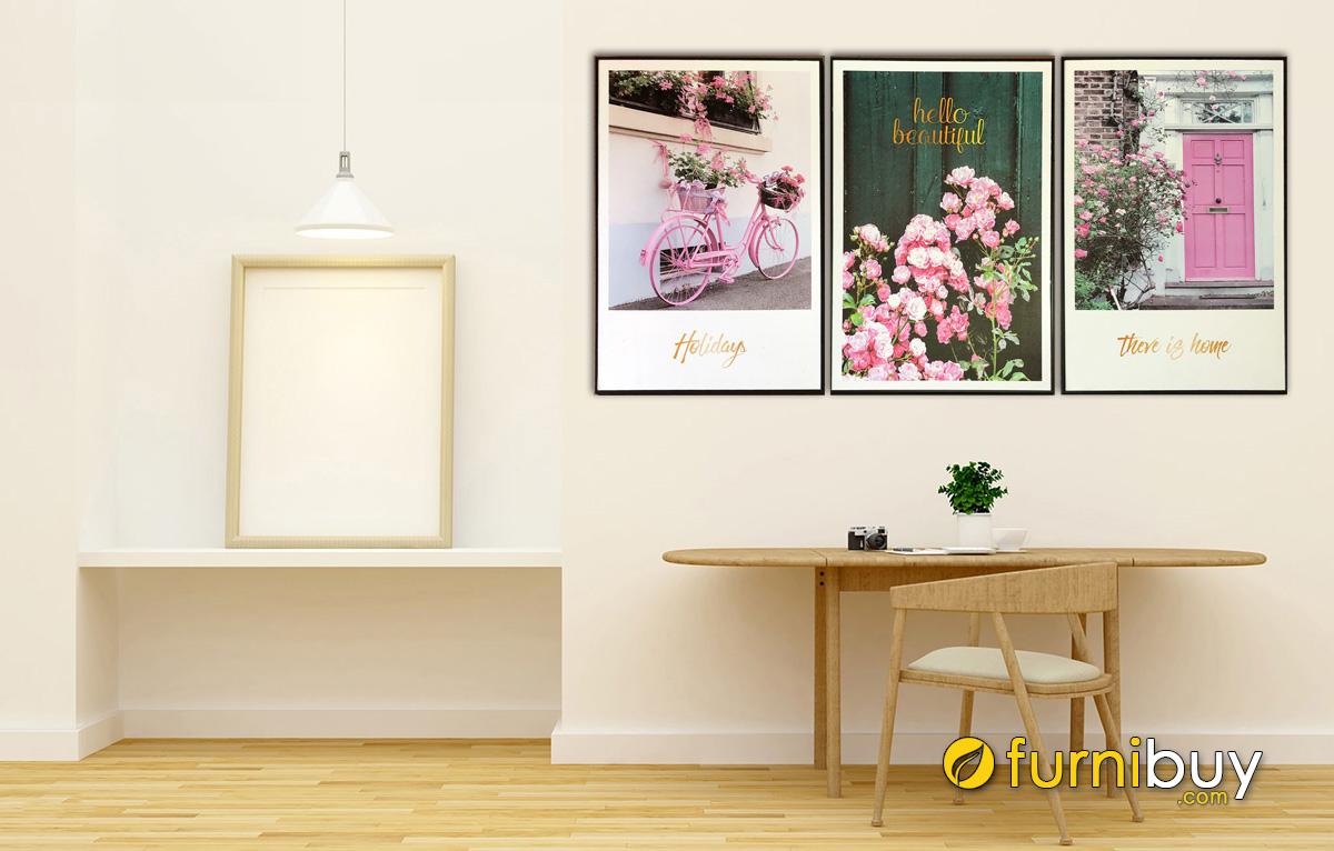 Hình ảnh Bộ tranh hoa đẹp treo tường hiện đại mã 1561