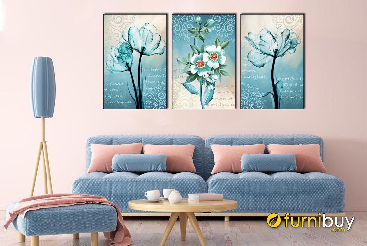 Hình ảnh Bộ tranh hoa sắc xanh treo tường đẹp nghệ thuật mã 1849