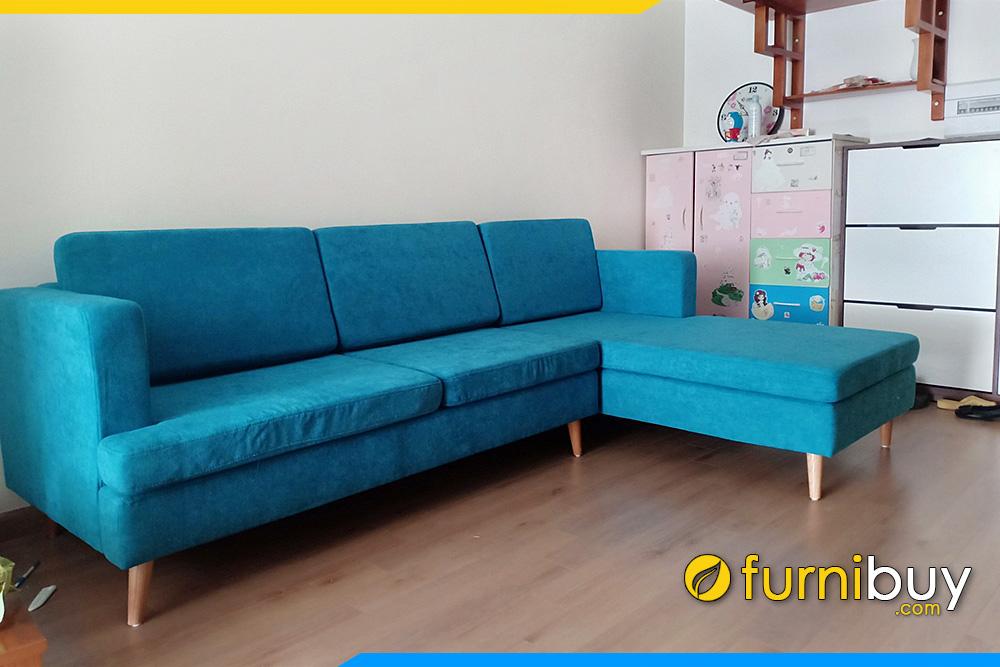 Ghế sofa goc chu L boc ni mau xanh duong