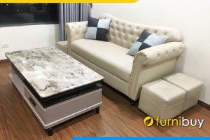 Sofa da vang tan co dien dinh cuc sang trong FBTCD 7903