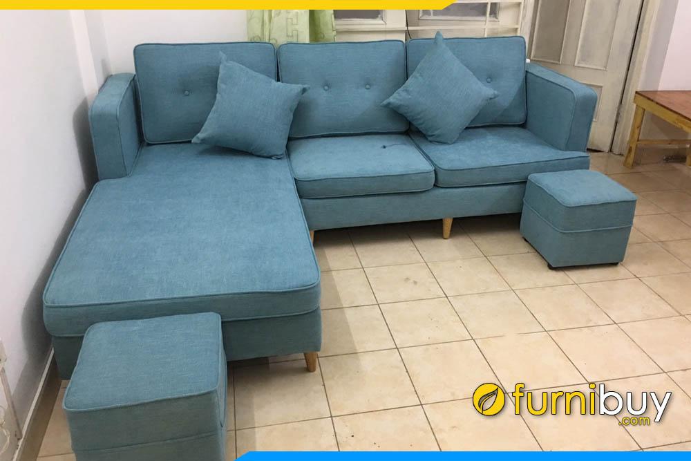 ghe sofa chu L boc ni mau xanh